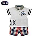 chicco-小小賽車手-短袖格紋套裝(12-24個月)