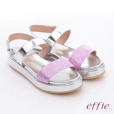 effie 休閒摩登 真皮金箔閃色一字厚底涼鞋 粉紅色