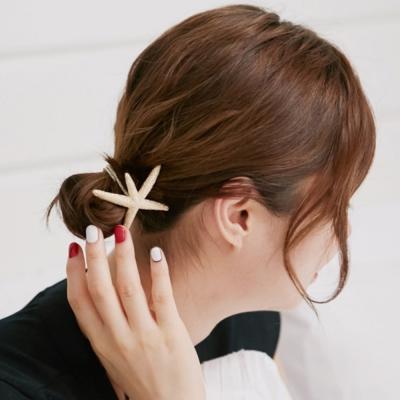 梨花HaNA-韓國夏日海洋風海星髮圈金銀二入組