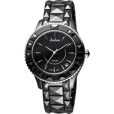 Diadem 黛亞登 巴洛克優雅陶瓷腕錶-黑/40mm