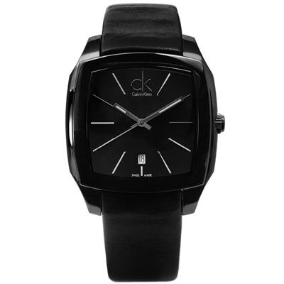 CK  Recess尊爵休閒方形日期皮革手錶 - 黑色 /40mm