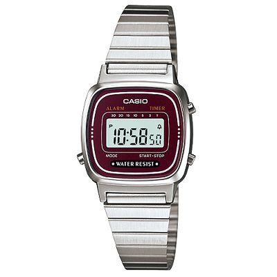 CASIO 經典復古風數位女腕錶(LA670WA-4)-酒紅框/24.6mm