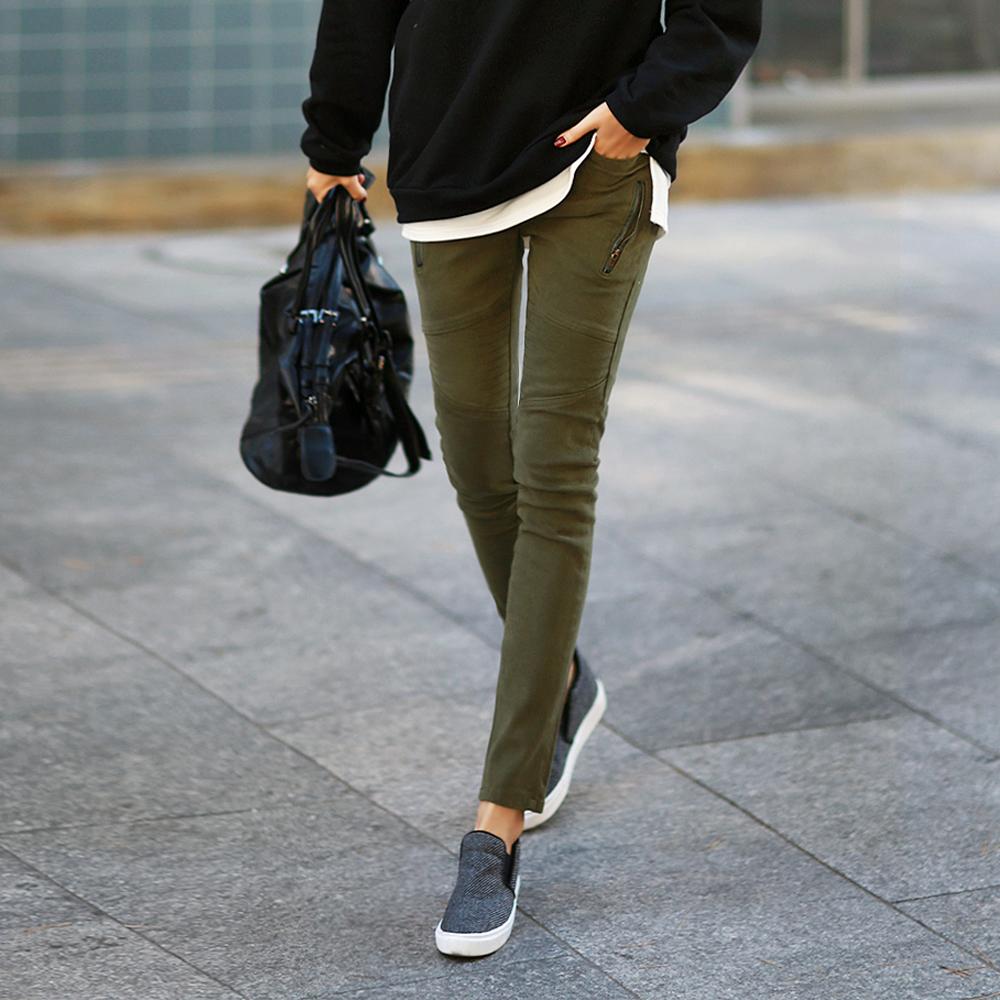 正韓 拉鏈點綴鋪棉保暖線條長褲 (共三色)-N.C21