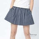 OUWEY歐薇 野餐方格俏麗抽摺褲裙(藍)-動態show