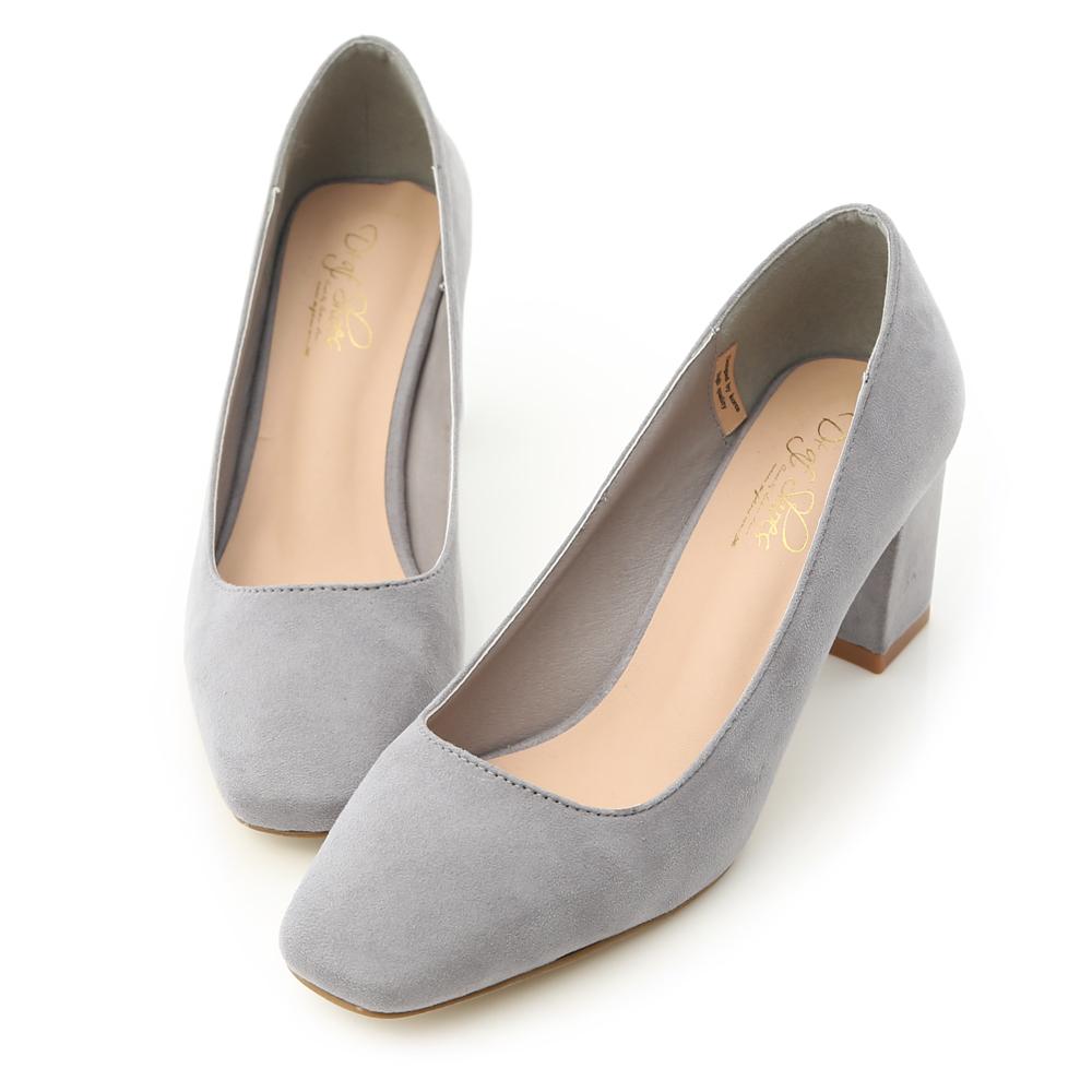 D AF 優雅風尚.素面絨質小方頭中跟鞋*灰