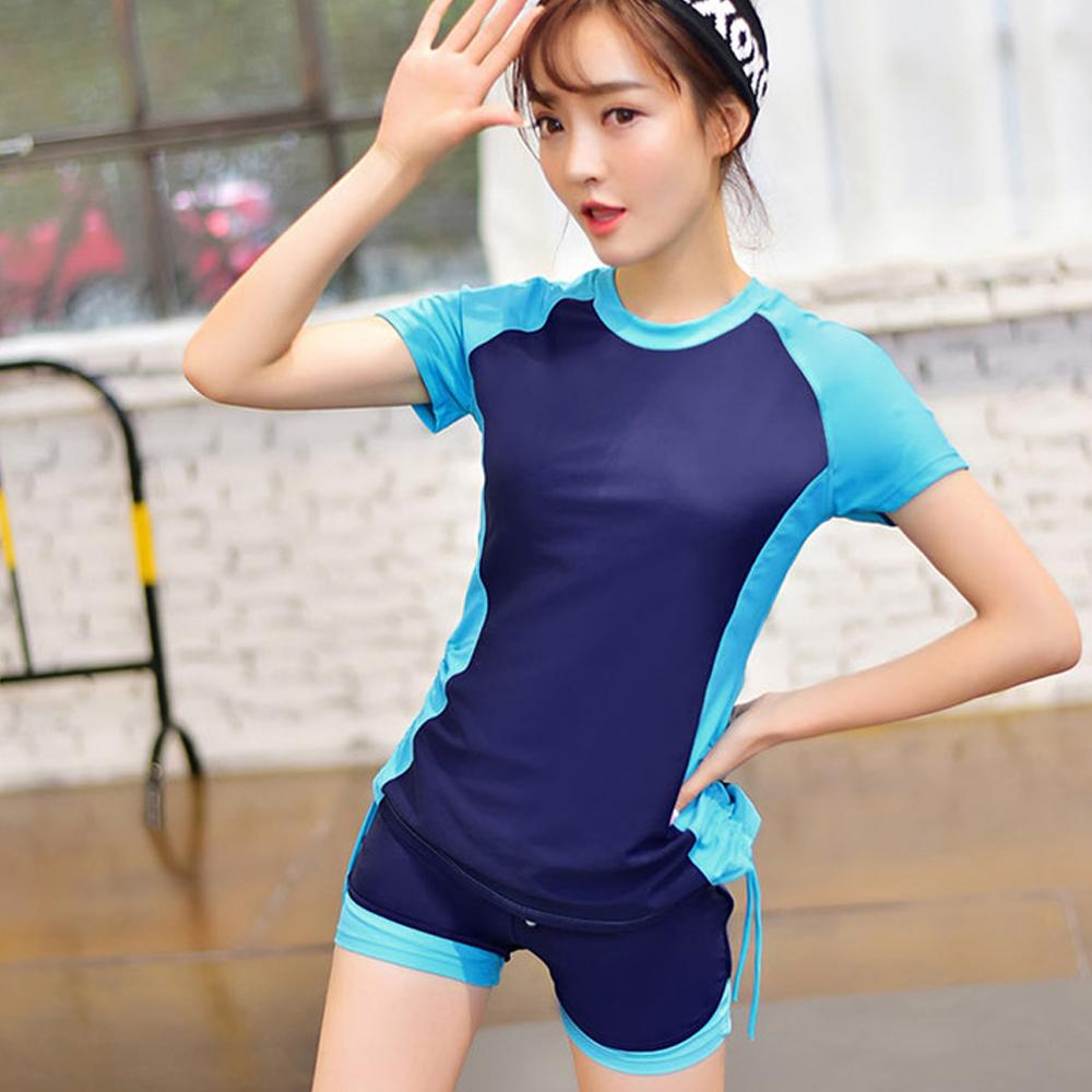 Biki比基尼妮泳衣   傑比學生短袖泳衣二件式泳衣(藍M-4XL)