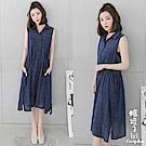 糖罐子-格紋排釦背心洋裝(深藍)