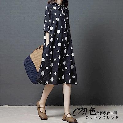 寬鬆大圓點印花裙-黑色(M-2XL可選)      初色