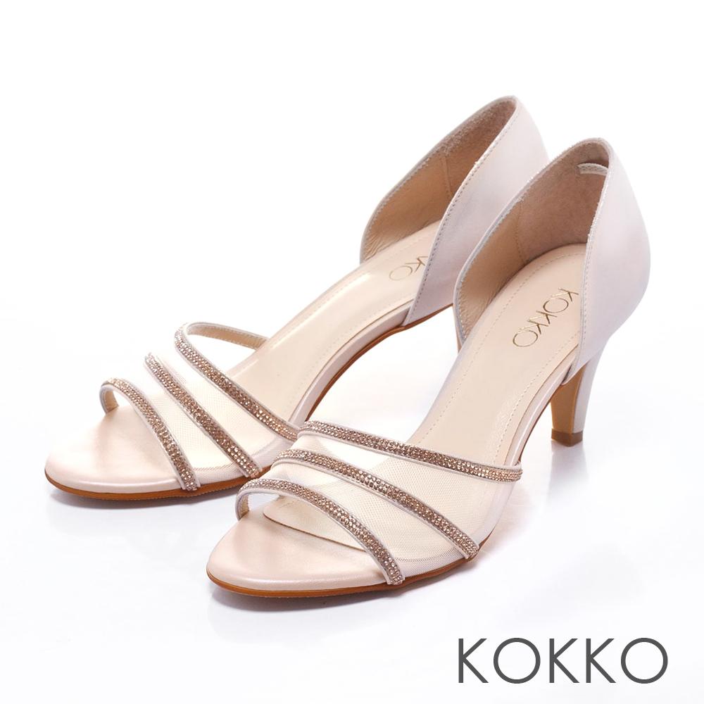 KOKKO經典手工 - 微性感紗網水鑽真皮魚口高跟鞋 - 淡金