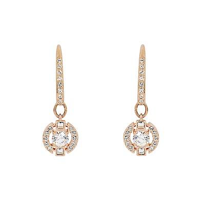 SWAROVSKI 施華洛世奇 優雅白水晶圓形鏤空造型玫瑰金耳墜耳環