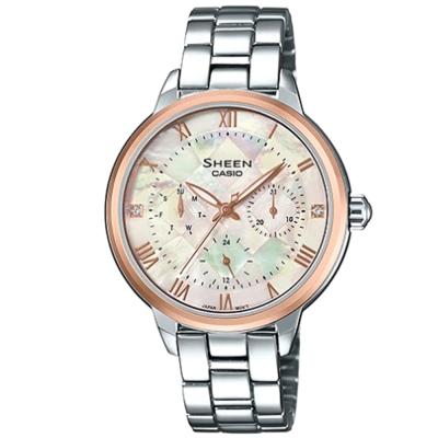 SHEEN耀眼羅馬時刻優雅風格腕錶(SHE-3055SG-7A)玫瑰金框34.3mm