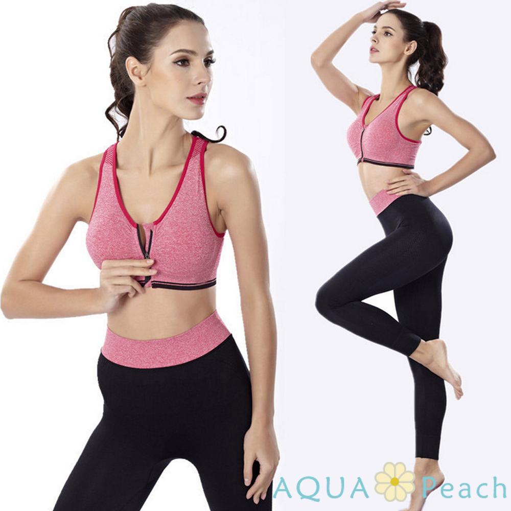 運動褲 混色寬版褲頭貼身運動褲 (粉色)-AQUA Peach