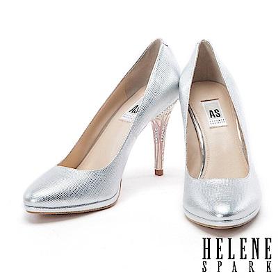 HELENE SPARK 滴油水鑽電鍍跟羊皮美型高跟鞋-銀