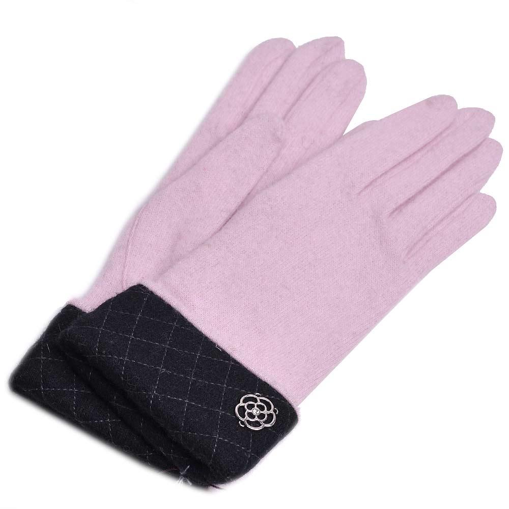 CLATHAS 優雅菱格反摺金屬山茶花logo安哥拉羊毛手套(粉紅)
