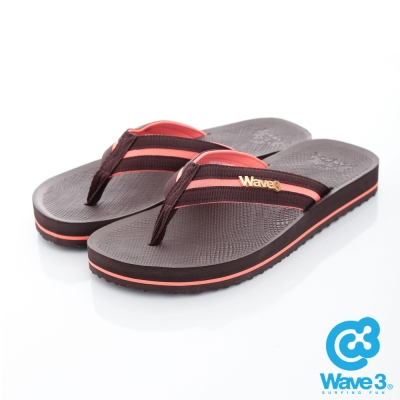WAVE3【男】獨家設計LOGO球紋人字夾腳拖鞋~咖