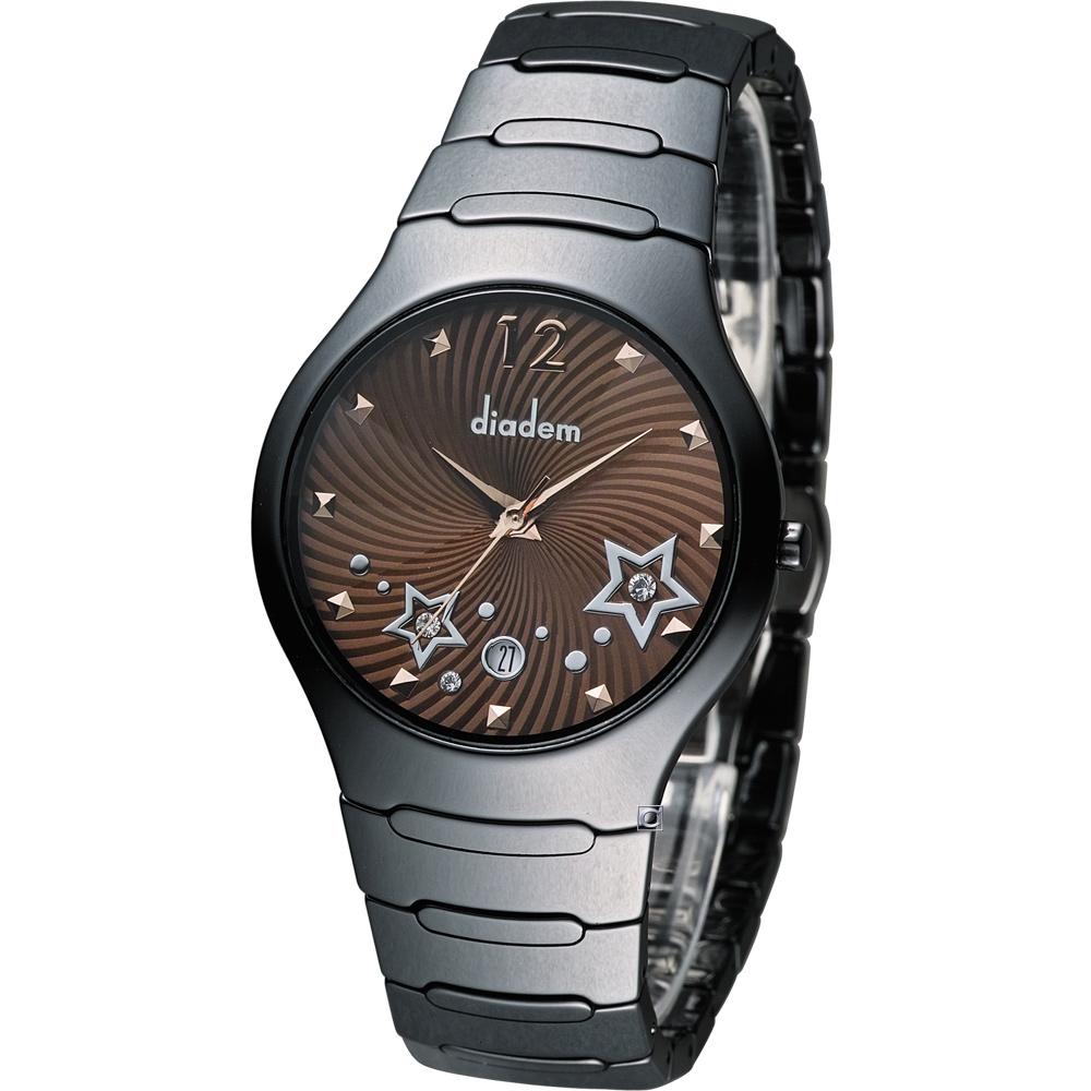 Diadem 黛亞登 魔幻星空黑陶瓷時尚腕錶-咖啡/36mm