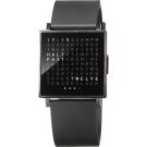 QLOCKTWO Watch 潮流時尚文字手錶-黑x橡膠錶帶/35mm