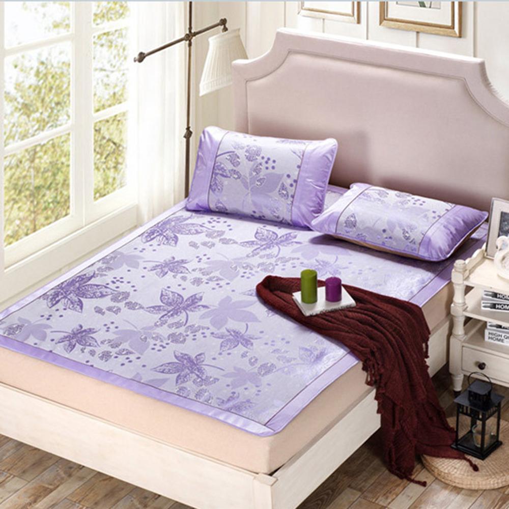 精靈工廠 第三代雙絲光冰絲涼蓆雙人三件式-浪漫紫