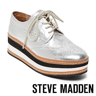 STEVE MADDEN-GRECO 綁帶厚底牛津鞋-銀色