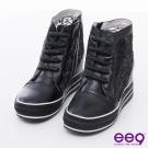 ee9 心滿益足~晶鑽造型飾帶內增高厚底休閒靴鞋~黑色