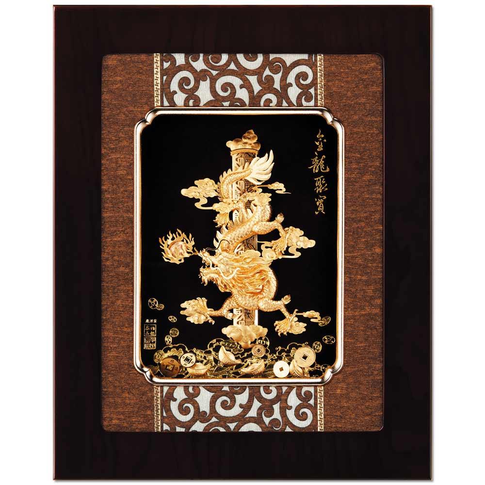 鹿港窯-立體金箔畫-金龍聚寶(框畫系列34x27cm)