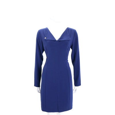 BLUGIRL-FOLIES 藍色翻領設計長袖洋裝