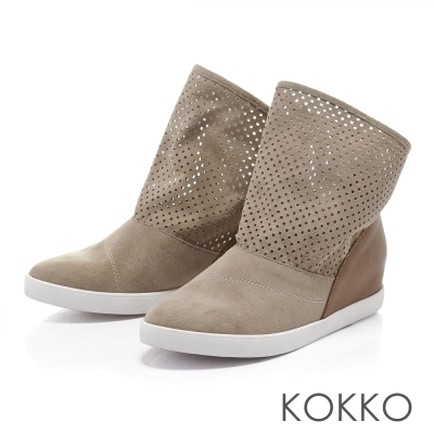 KOKKO台灣手工麂皮沖孔個性內增高運動短靴