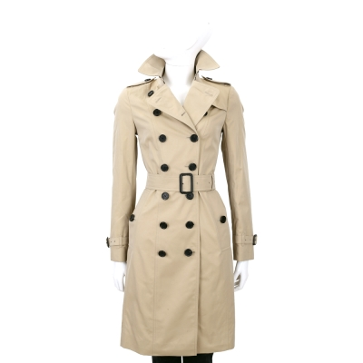 BURBERRY-卡其色-雙排釦-長版-風衣-外套