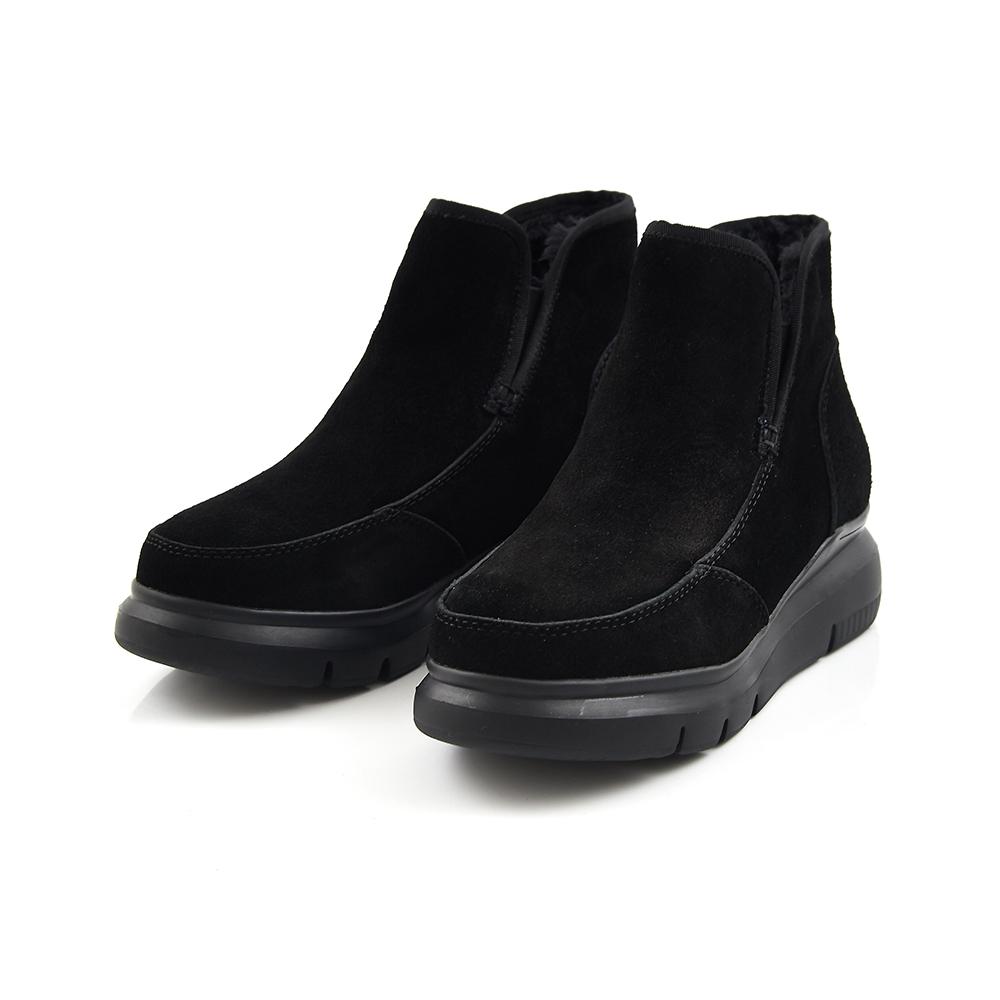 TAS 質感麂皮毛內裏厚底短靴-率性黑