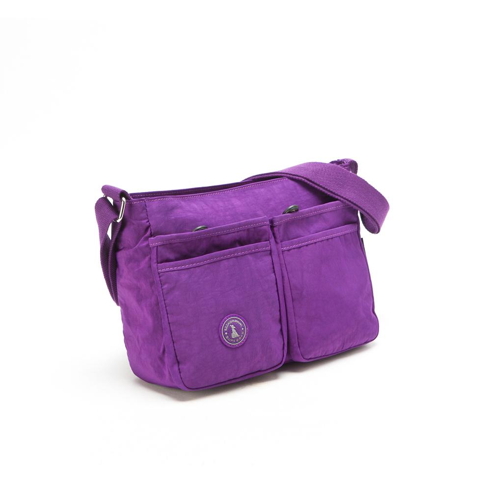 冰山袋鼠 - 輕盈休閒人氣款雙口袋型隨身側背包-新紫(快)
