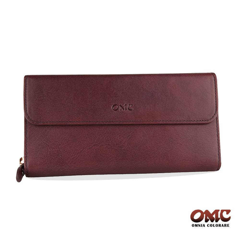 OMC 原皮系列-植鞣牛皮掀蓋壓扣單拉鏈15卡透明窗多隔層零錢長夾-紫色
