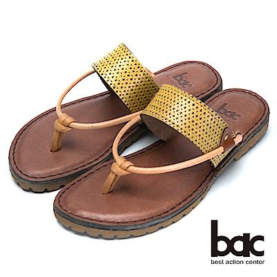 bac舒適鞋底真皮夾腳鞋-黃