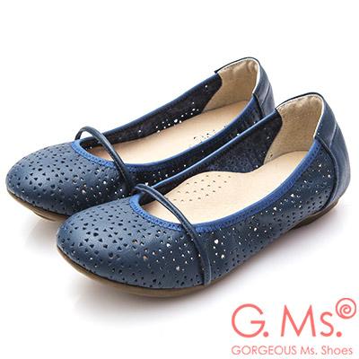 G.Ms. MIT系列-鏤空牛皮繫帶娃娃鞋-寶藍