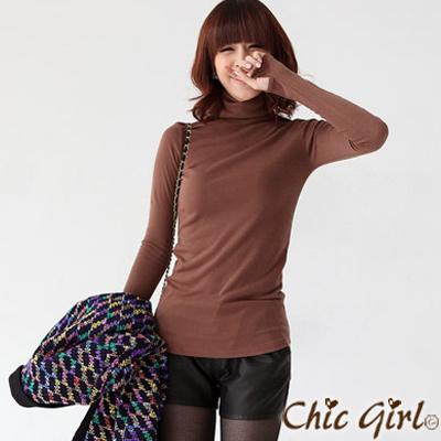 正韓 手套式高領素面棉T (共七色)-Chic Girl
