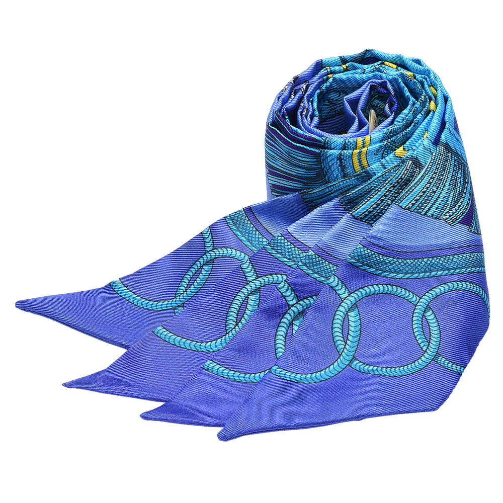 HERMES Epaulettes銅牌勳章圖騰Twilly絲巾/領結(藍-一組兩條)