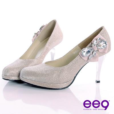 ee9 甜美名媛~進口閃亮斜紋布精緻珠鑽側邊蝴蝶結高跟鞋~法式米