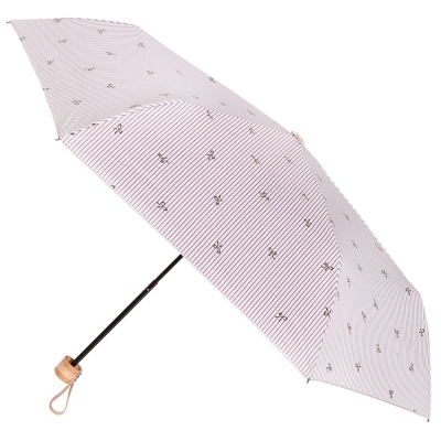 2mm 銀膠抗UV 蝴蝶結條紋輕量手開傘 (咖啡色)