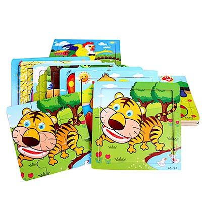 兒童啟蒙認知9片動物木質拼圖-5入