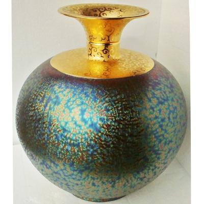(特大大觀瓶)繽紛人生聚寶盆禮品~郭明本錳七彩結晶釉鎏金瓶
