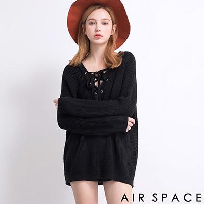 AIR-SPACE-甜美V領綁帶針織衫上衣-黑