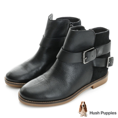 Hush Puppies 個性風內增高短靴-黑色