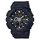 BABY-G 金時尚搖滾隨性風格概念休閒錶(BA-110GA-1A)金時刻X黑面43.4m