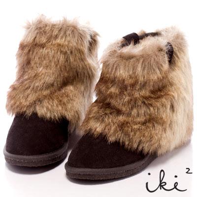iki2雪國精靈-2Way暖呼呼楔型舞台雪靴-深灰