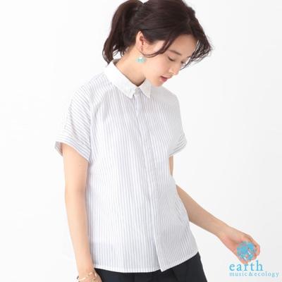 earth music 配色領口短袖襯衫上衣