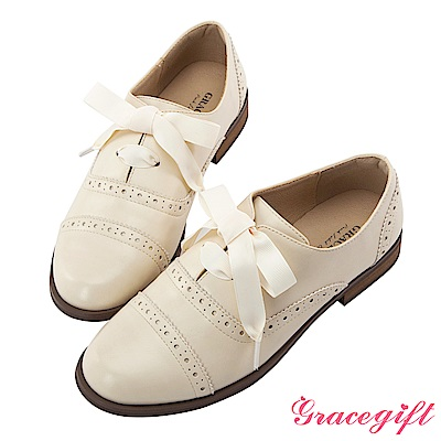 Grace gift-織帶雕花綁帶牛津鞋 米白