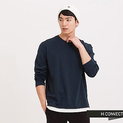 H:CONNECT 韓國品牌 男裝 - 純色假兩件長袖T-Shirt - 藍