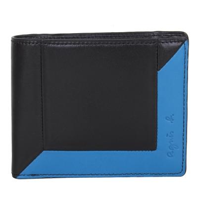agnes b. 撞色雙折零錢袋短夾-黑/藍綠