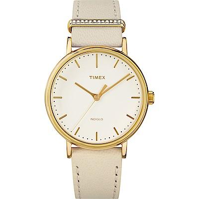 TIMEX 天美時 週末Fairfield系列 晶鑽時尚優雅手錶 米黃/37mm