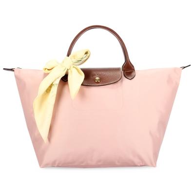Longchamp 折疊中型水餃包(短提把/玫瑰粉)-加贈帕巾