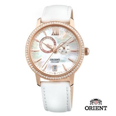 ORIENT 東方錶 ELEGANT系列 璀璨星辰日月相機械錶-珍珠白/36mm